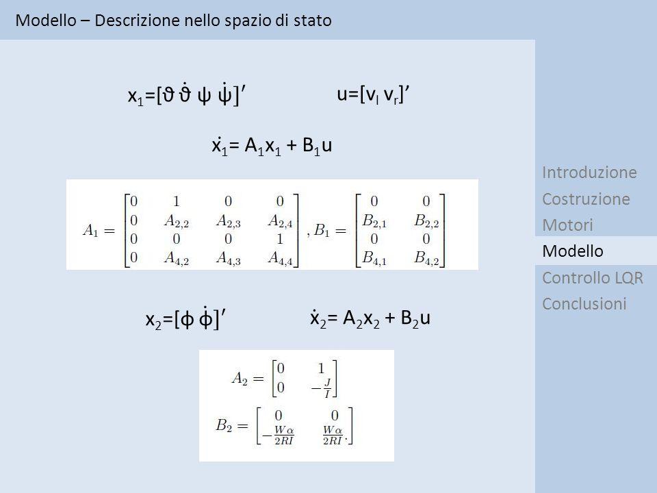x1=[ϑ ϑ ψ ψ ]′ u=[vl vr]' x1 = A1x1 + B1u x2=[φ φ ]′ x 2= A2x2 + B2u